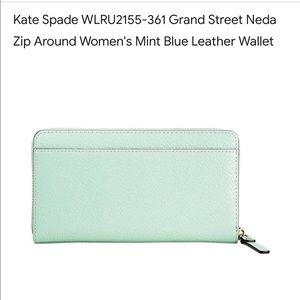Kate Spade Grand St Neda Zip Around Mint LthWallet